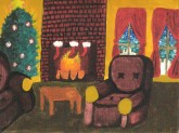 Home is a cozy place to celebrate! Artwork by Nicole Mendoza.